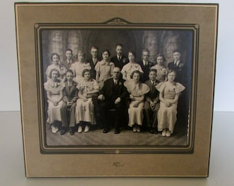 Vintage Art Deco Photo Frame12 x 11 Folding Card Stock Frame Geometric Design Matte Picture Frame with Interesting Class Photograph