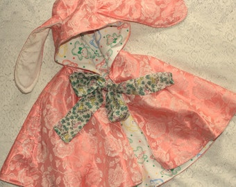 flopsy eared bunny cape with tiny bambi print ribbons