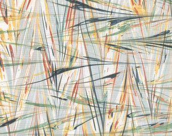 Marbled Paper with Wheat Pattern Featuring Dark Gray, Pale Grey-Green, Yellow Ochre, and Mars Red