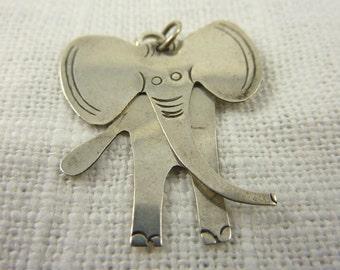 Vintage Sterling Silver Handmade Elephant Charm