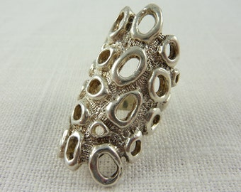 SALE ------ Vintage Handmade Sterling Modernist Abstract Holes Wide Heavy Ring Size 6