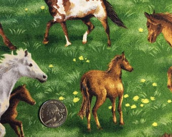Horse fabric, cotton print green background. quilting, sewing,  white, brown and paint horses, DIY,  26 x 44 inches -
