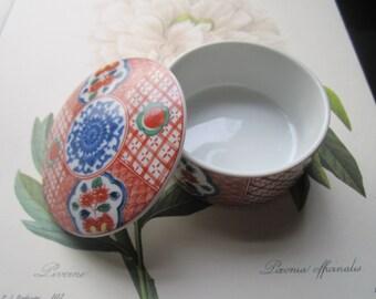 Vintage Porcelain Box * Vintage Otagiri Takahashi * 1980s San Francisco Import * Bo ho Home Decor * Ceramic Container * Jewelry Trinket Box