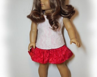 """18"""" Doll Clothes -    Girl Doll Clothes - Skirt Outfit - Lace Top - Red Skirt  - Valentine's"""