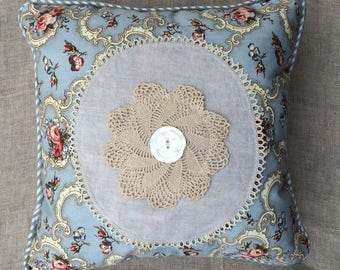Vintage Crochet Doily Pillow with Blue and Pink Polished Cotton Print, Vintage Button, Blue Striped Satin Back So PaRiS rOMaNtiC!