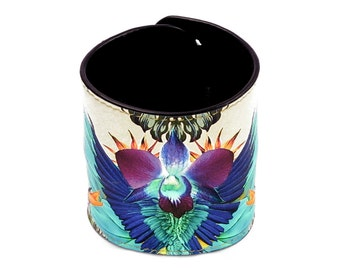 Leather Cuff Wallet also with Contactless Payment Chip  - Tropical Jungle Parrot