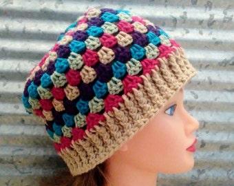 Granny Stripe Hat Crochet Tan, Purple, Blue, Green, Pink Slouch Beanie