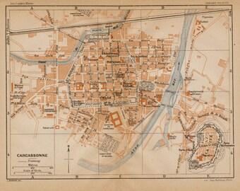 1926 Vintage Map of Carcassonne, France - Vintage City Map - Old City Map