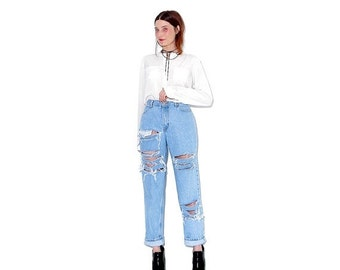 OMG HALF OFF adorable 90s jeans / light wash jeans high waisted jeans boyfriend jeans mom jeans distressed jeans ripped jeans 90s clothing