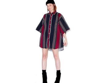 vintage 90s OVERSIZED SHIRT mens xxl // menswear oversized boyfriend shirt dress striped shirt skater shirt 90s grunge cyber club kid rave