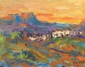 Southwest Art Painting, adobe New Mexico Landscape, small original acrylic ready to frame on canvas panel,  Santa Fe vicinity, Russ Potak