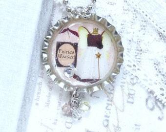 Fairy Pendant Necklace Fairies Necklace Fairy Gift Bottle Cap Necklace Vintage Style Necklace