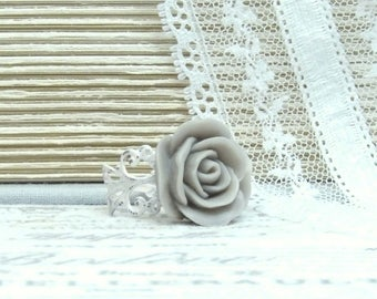 Gray Rose Ring Pink And Gray Ring Gray Flower Ring Adjustable Ring Shabby Chic Ring