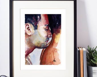 """A Sentimental Kiss to the Back of the Neck of a Loving Gay Couple - Love is Love - 8x10"""" Signed Art Print"""