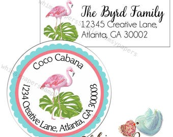 Flamingo Address Labels, Return Address Labels