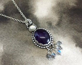 Vetr Bær sterling silver, amethyst and labradorite tassel pendant