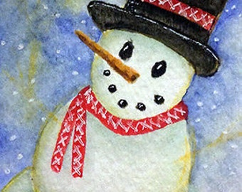 Original Art Winter Snowman Watercolor ACEO Painting