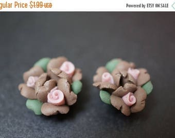 MAY SALE SALE - Small Brown and Pink Triple Flower Buds Fimo Flowers - 6 pcs
