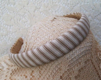 khaki striped cotton headband