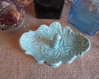 Porcelain mint green jewelry dish, dragonfly design, ring holder