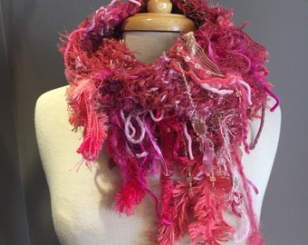 Knit fringed cowl, Pink Bohemian Fringed Knit pink gold peach scarf, choker, neckwarmer, dusty rose, cowl with fringe, Funky scarves, ribbon