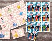 Kids Valentine Cards, Princess and Superhero Valentines, Instant DOWNLOAD, YOU PRINT, Superhero Valentine Cards, Boys and Girls Valentines