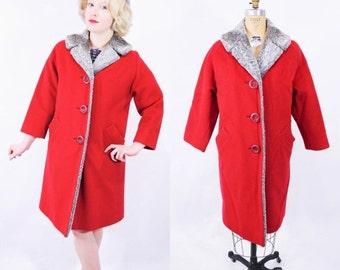 WINTER SALE / 1950s coat vintage 50s red wool gray faux fur collar coat