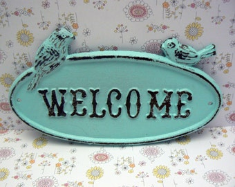 Bird Welcome Cast Iron Sign Distressed Light Cottage Blue WELCOME Two Birds Oval Sign Shabby Style Chic Cottage Chic Wall Door Plaque Sign