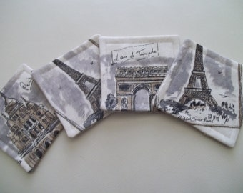 SALE ~ Fabric Coaster Set of 4 ~ French Country Coaster ~ Tres Chic ~ Paris
