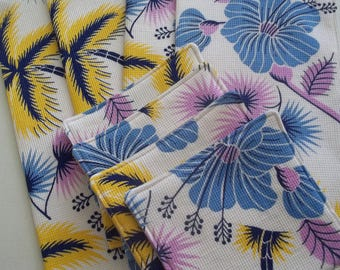 Vintage Tropical Napkin and Coaster Set of 4 ~ Fabric Coasters ~ Tropical Decor ~ Retro Beach Decor