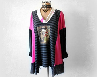 Cat Clothing Plus Size Top Women's Black Tunic Cowl Neck Shirt Upcycled Recycle Bohemian Fashion Stretchy Pink Top Boho Clothes 2X 3X 'MACIE