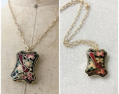 cloisonne necklace / enamel bird necklace / Cardinalis necklace