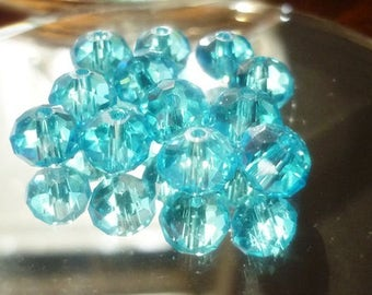 8mm Turquoise Rondelle Crystal Beads- 8 Rondelle Crystals