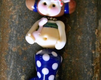 Mermaid with Pink Seahorse & Starfish Lampwork Bead Pendant Artist Dizzy Beads Blue Pink  Polka Dots Tail