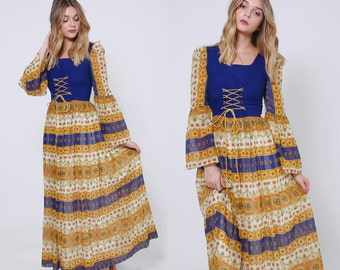 Vintage 70s RENAISSANCE Dress Boho Maxi Dress BELL SLEEVE Hippie Dress Printed Corset Dress