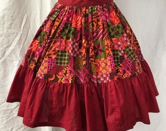 Vintage 60s Calico House Western Swing Square Dance Skirt M