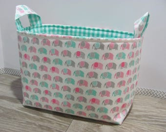 SALE LARGE Fabric Organizer Basket Storage Container Bin Bucket Bag Diaper Holder Home Decor- Size Large - Mini Elephants Pink - RTS