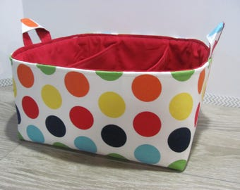 SALE Fabric Diaper Caddy - Storage Container Basket - Organizer Bin - Tote Bag - Bucket- Baby Gift - Nursery - Large Dots - RTS