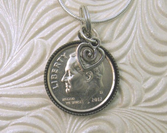 """5th Anniversary-2012 US Dime Pendant and Necklace-20"""" Sterling Silver Chain-Coin Jewelry"""