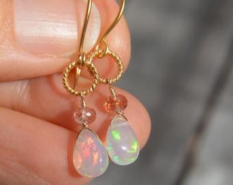 Welo Ethiopian Opal Briolette Earrings with Sunstone on 24k Gold Vermeil