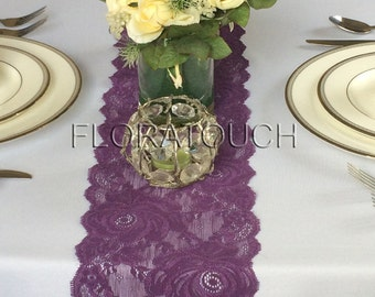 "Plum Lace Table Runner 6.75"" wide"