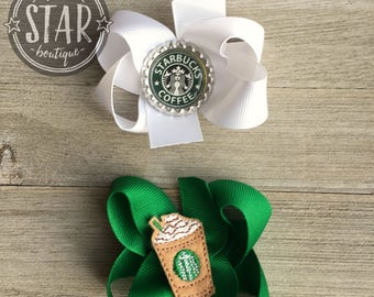Starbucks Hair Bow Clip - Frappuccino Hair Bow - Starbucks Bow - Starbucks Clip Set - Frappucino Hair Bow Gift Set - Coffee Hair Bow Clip