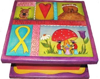 "CHILDRENS KEEPSAKE BOX - Wood Box - 10"" x 10"" x 5"" tall  - Custom - Personalized - Lady Bugs - Unique keepsake box - Whimsical"