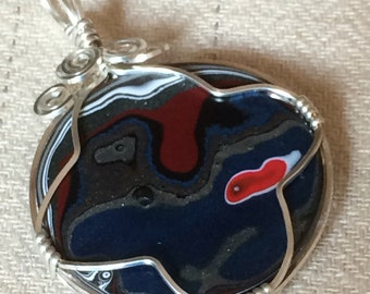 Fordite Detroit Agate Sterling Silver Wire Wrapped PENDANT ONLY Motor Agate Ford FREE shipping