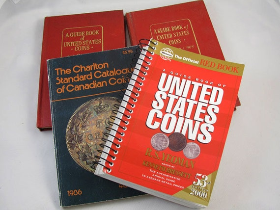 Become a coin expert! Set of 4 hardcover and soft cover reference books / Red Book United States Coins RS Yeoman / Charlton's Canadian coins