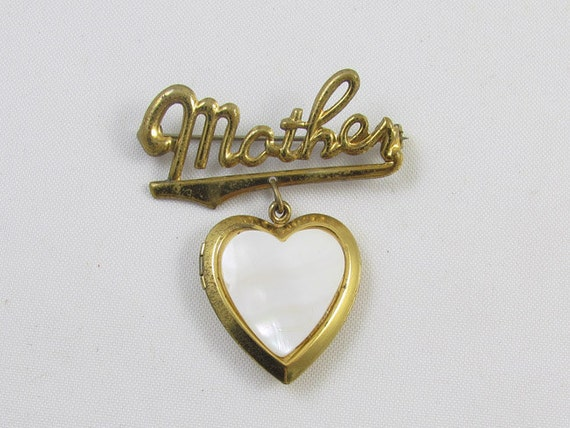 Vintage 1940s WW2 heart shaped Mother sweetheart locket with Akron Ohio Viaduct souvenir scenic back pin back brooch