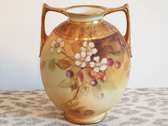 Antique Nippon Japan hand painted porcelain ceramic vase urn with eared handles dogwood flowers