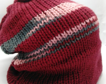 Burgundy Slouchy Hat with Random Gray and Pink Striping