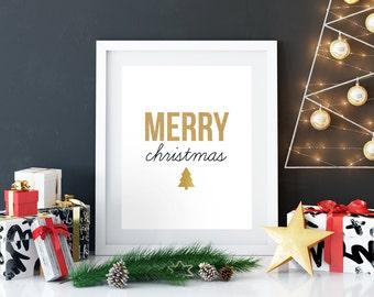 Merry Christmas Printable, Digital Print, Holiday Print, printable quote, Christmas Decor, Gold Foil, Christmas Tree