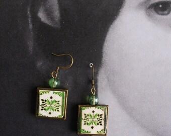 Portugal  Antique Azulejo Tile Replica FRAMED TILE Earrings,  Aveiro Green  - waterproof and reversible  1079